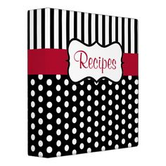Classic black and white dots and a red accent give this recipe binder retro style. Use this empty binder as a recipe organizer, cookbook, recipe book, recipe binder, etc.The design is from original art. Cookbook Cover Design, Healthy Cook Books, Planning Budget, Menu Planning, Recipe Binders, Binder Design, Recipe Organization, Custom Binders, Retro Recipes