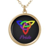 Gay Pride Celtic Knot Gold Necklace