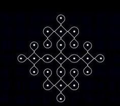 7 - 1 parallel dots (Neer Pulli) Kolam - Start with 7 dots in the center, leave one dot at both ends and stop at 1 by putting parallel dot. Indian Rangoli Designs, Rangoli Designs Latest, Simple Rangoli Designs Images, Rangoli Designs Flower, Rangoli Border Designs, Rangoli Patterns, Rangoli Ideas, Rangoli Designs With Dots, Kolam Rangoli
