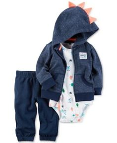 Carter's 3-Pc. Dino Spike Hoodie, Bodysuit & Pants Set, Baby Boys (0-24 months) - Blue Newborn