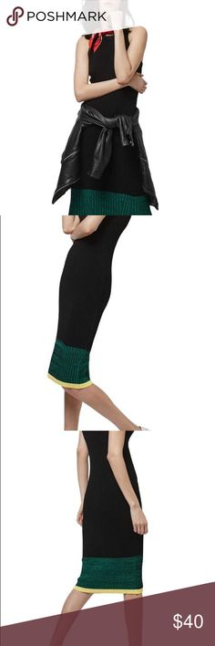 """TopShop Racerback Colorblock Hem Midi Dress NWOT Two contrast colors tip the hem and trim the arm holes of a curve-hugging ribbed racerback midi dress that's a sophisticated weekend option. 42 1/2"""" length (size 8). Slips on over head. Crewneck. Sleeveless. Unlined. 62% viscose, 38% nylon. Machine wash cold, dry flat. TopShop size EUR 40, US 8, UK 12. Fits like a US 6-8. Topshop Dresses Midi"""