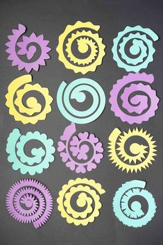 12 Free rolled flower svg Templates - DIY Paper flowers - DOMESTIC HEIGHTS <br> Free set of Cricut flowers SVG templates. Free rolled paper flower SVG for commercial use. Rolled Paper Flowers, Paper Flower Art, Paper Flowers Craft, Flower Svg, Paper Roses, Flower Crafts, Diy Flower, Rolled Paper Art, Tissue Flowers