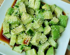 Original pinner said....Sesame Cucumber Avocado Salad  2 cucumbers (diced)  2 avocado (diced)  1 tablespoon sesame seeds (toasted)  1 tablespoon olive oil  2 tablespoons soy sauce (make sure it's organic or it's gmo) 1 tablespoon rice vinegar