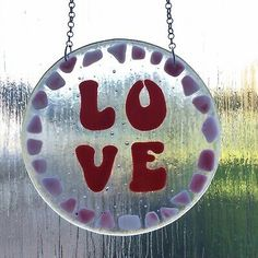 Fused Glass Love Suncatcher  | eBay Fused Glass, Clear Glass, Red Opal, Suncatchers, Paper Weights, Hand Blown Glass, Christmas Bulbs, Holiday Decor, House