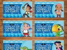 Jake and the Neverland Goody Bag Tags Blue by NineLivesNotEnough