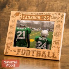 Personalized Football Frame Engraved on Wood-Engrave your name/number-Football Player gift-Football Team by GiftedOak on Etsy https://www.etsy.com/listing/178657798/personalized-football-frame-engraved-on