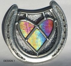Stained Glass Heart in a Horseshoe - Iridescent or Red - Wedding present