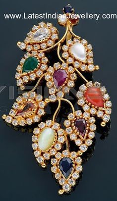 Unique Designer Navaratna Diamond Pendant in Leafy Design vaibhav Gold Jewelry Simple, Mom Jewelry, Trendy Jewelry, Bridal Jewelry, Beaded Jewelry, Fashion Jewelry, Gold Earrings Designs, Gold Jewellery Design, Diamond Jewellery