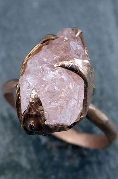 IKI LAGI JENENGE BATU AKIK.  Raw Rough Morganite Diamond 14k Rose gold Ring