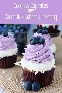 Coconut Cupcakes with Coconut and Blueberry Frosting-Tropical coconut and wild, fresh blueberry flavors pair wonderfully in these perfectly purple cupcakes. These sweet treats hav Cupcakes Cool, Kokos Cupcakes, Spring Cupcakes, Purple Cupcakes, Coconut Cupcakes, Easter Cupcakes, Tropical Cupcakes, Gastronomia, Pastries