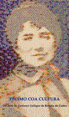 Mosaico de Roslía de Castro formado por 80 logotipos de empresas do #Morrazo
