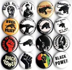 Black Panther Party button set of 16 pinbacks 1 by Panicbuttons101, $7.99
