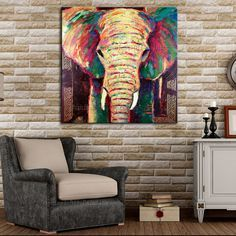 Hand Painted Abstract Elephant Oil Painting Hang Paintings Modern Impression Animals Paintings Canvas Painting For Room Decor Diy Canvas, Canvas Art, Pop Art, Elephant Canvas, Silhouette Painting, Painting Wallpaper, Animal Paintings, Painting Inspiration, Creative Art