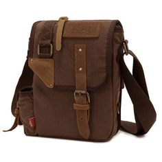 b47b54067223 Augur Men's Vintage Genuine Leather Canvas Leisure Shoulder Bag Crossbody  Bag - US$25.95 Hátizsák,