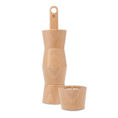 Avva Votive Set by Teroforma // beautiful form, but I'm really not so sure about the wood-fire combination here! Appropriate material choice? Yes or no?