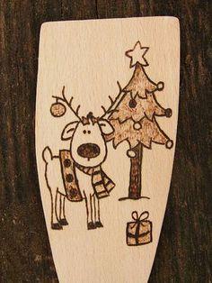 Merry Christmas Reindeer Personalised Wooden spoon hand engraved burning wood (Surprise your friend)