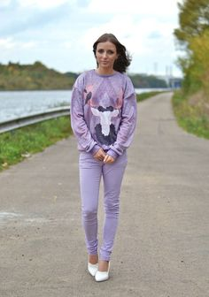 mr gugu miss go purple lilac antler sweater sweatshirt asos lilac supersoft skinny trousers h&m trend white wedge heels outfit post fashion ...