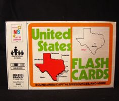 United States Flash Cards Vintage 1978 Milton Bradley Capitals Geography USA #MiltonBradley