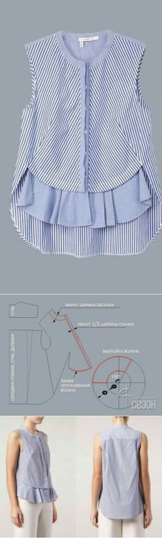 Sewing blouse pattern design 38 Ideas for 2019 Diy Clothing, Sewing Clothes, Clothing Patterns, Dress Patterns, Sewing Patterns, Blouse Sewing Pattern, Top Pattern, Pattern Design, Remake Clothes