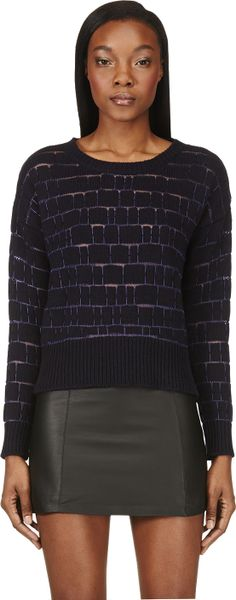 Avelon - Black & Purple Threaded Cutout Sweater | SSENSE