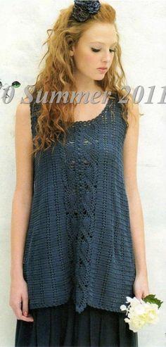 crochet tunic Crochet Tunic, Crochet Clothes, Crochet Tops, Crochet Stitches, Crochet Patterns, Caron Yarn, Crochet Woman, Top Pattern, Free Pattern