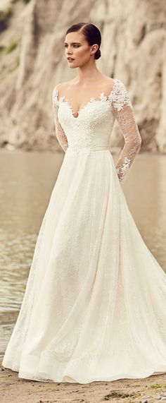 High Slit Lace Wedding Dress - Style #2116 | Mikaella bridal, Lace ...