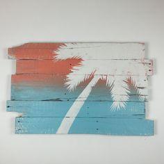 Beach Decor Palm Tree Rt Lean 32 x 21 On Blue and by WoodburyCreek