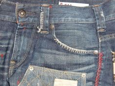 Redo Clothes, Denim Branding, Embroidered Jeans, Darning, Couture, Mens Fashion, Embroidery, Sewing, My Style