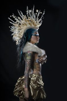 Burning+Man+headdress+Bridal+White+Floral+by+StraightLacedSF,+$320.00