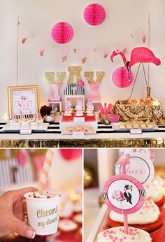 Flamingo Party Dessert Table - Pink and Gold perfect for a summer tropical party Party Fiesta, Festa Party, Diy Party, Party Ideas, Pink Parties, Slumber Parties, Birthday Parties, Pink Flamingo Party, Flamingo Birthday