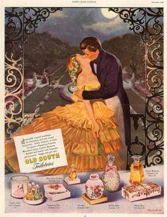 Old South Toiletries, 1947 - Unknown Artist Vintage Makeup Ads, Vintage Beauty, Vintage Ads, Vintage Posters, Vintage Vanity, Retro Ads, Vintage Magazines, Perfume Ad, Vintage Perfume