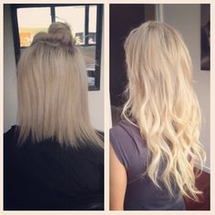 New hair extensions tape in before and after salons ideas Micro Bead Hair Extensions, Beauty Hair Extensions, Tape In Hair Extensions, Microbead Extensions, Burgendy Hair, Hair Extensions Before And After, Hair Tape, Birthday Hair, Messy Hairstyles