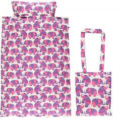 Smafolk dekbedovertrek eenpersoons circus olifanten roze paars Bon Bon Bleu