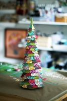 Lolly Chessie's Famous CP Christmas Trees - Crate Paper Could use pages from a book and intersperse a few colored petals.