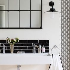 #interior #decor #styling #bathroom #Scandinavian #tiles #black #white #BW #lamp #mirror
