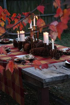 Love this table arrangement! Plaid with leaf napkins, pine cones, variety of candle holders with white candles.