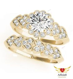 1.63 CT Round Cut D/VVS1 Diamond Bridal Solitaire Engagement Ring Set Size 5-12 #Affoin8