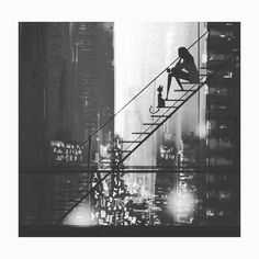 Wondeful Black and White Illustration! Beautiful Art, looks like New York City and reminds me of Breakfast at Tiffanys Belle Photo, Black And White Photography, The Dreamers, Fantasy Art, Concept Art, Cool Art, Art Drawings, Anime Art, Art Photography