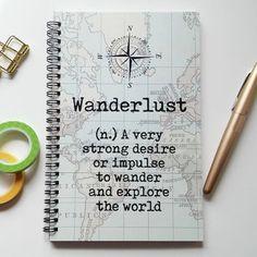 Writing journal, spiral notebook, sketchbook, bullet journal, vintage map, definition blank lined or grid paper, travel journal - Wanderlust