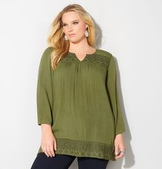 PULLOVER W/ GRN EMBROIDRY, Green