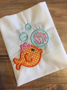 Girl Fish with Bubbles Shirt or Onesie Embroidered