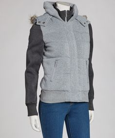Take a look at this Heather Gray & Charcoal Hooded Jacket on zulily today!