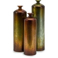 Tall vases with unique fired finish to each vase, setting them apart from all others.  Accent any room with these elegant vases.