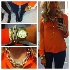 Fall inspiration: Pumpkin orange blouse, dark skinny jeans, gold accessories & two-toned riding boots