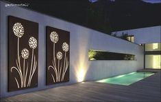 View screen with acrylic glass insert and lighting as wall motif. View screen with acrylic glass insert and lighting as wall motif. Metal Fence Panels, Metal Screen, Glass Screen, Garden Wall Designs, Garden Wall Art, Outdoor Metal Wall Art, Outdoor Walls, Art Mural En Plein Air, Boundary Walls