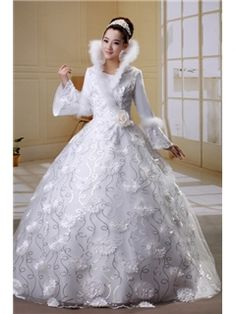 $ 168.59 Noble High Neck Long Sleeves Flowers Ball Gown Wedding Dress