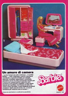 Barbie Dream Furniture in the Seventies! Italian print ad.