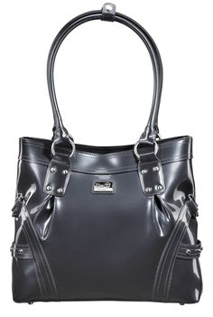 Head Over Heels (Charcoal) || Dimensions: 13″ L x 4″ W x 11.5″ H - Strap Length: 10″ - Opening: 5″ - Trim Colors: None - SRP: $129.00 - Available In: Charcoal, Chocolate, Fuchsia, Lipstick Red, Moss, Platinum, Teal