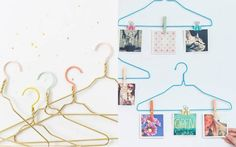 Tecido, papel, guardanapo, tinta, glitter e lantejoulas: você pode usar vários materiais diferentes pra deixar os cabides (e o armário!) lindos!