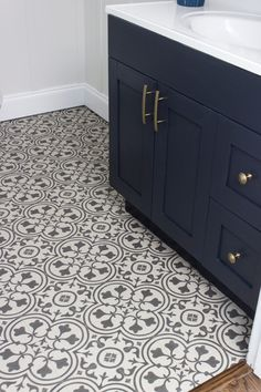 Luxury vinyl that imitates the look of encaustic tile by Mannington Floors.